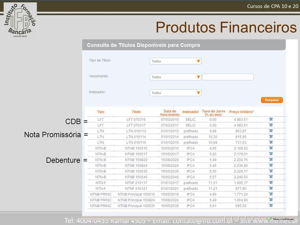 Produtos Financeiros CDB = Nota Promissória = Debenture =