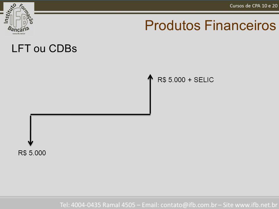 Produtos Financeiros LFT ou CDBs R$ 5.000 + SELIC R$ 5.000