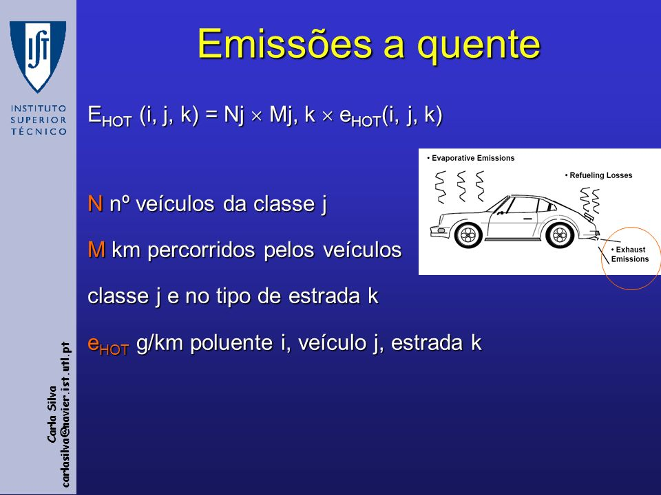 Emissões a quente EHOT (i, j, k) = Nj  Mj, k  eHOT(i, j, k)