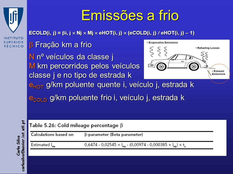 Emissões a frio ECOLD(i, j) = i, j  Nj  Mj  eHOT(i, j)  (eCOLD(i, j)  eHOT(i, j) – 1)  Fração km a frio.