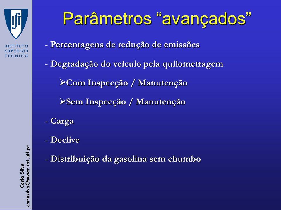 Parâmetros avançados