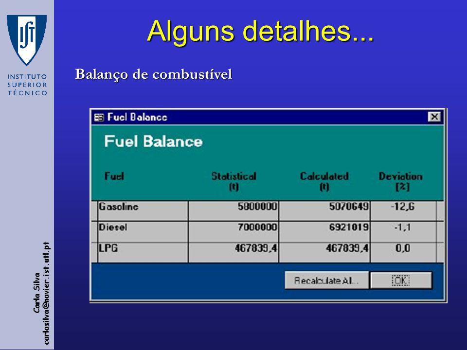 Alguns detalhes... Balanço de combustível