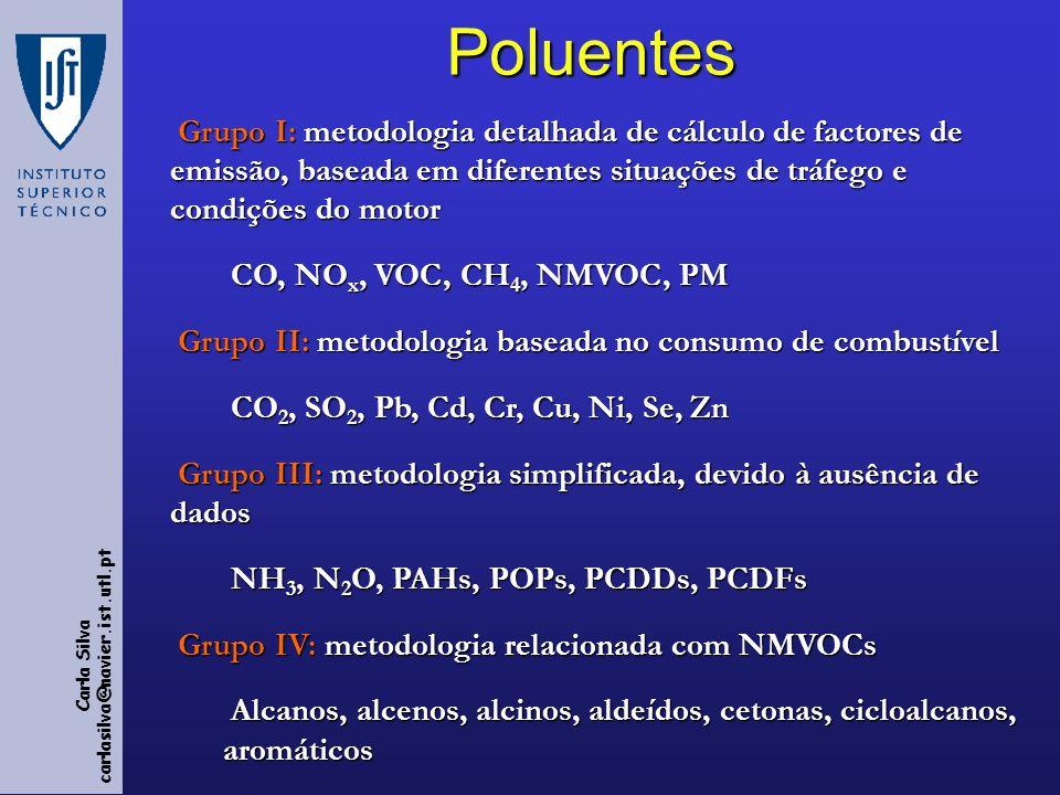 Poluentes Grupo I: metodologia detalhada de cálculo de factores de emissão, baseada em diferentes situações de tráfego e condições do motor.
