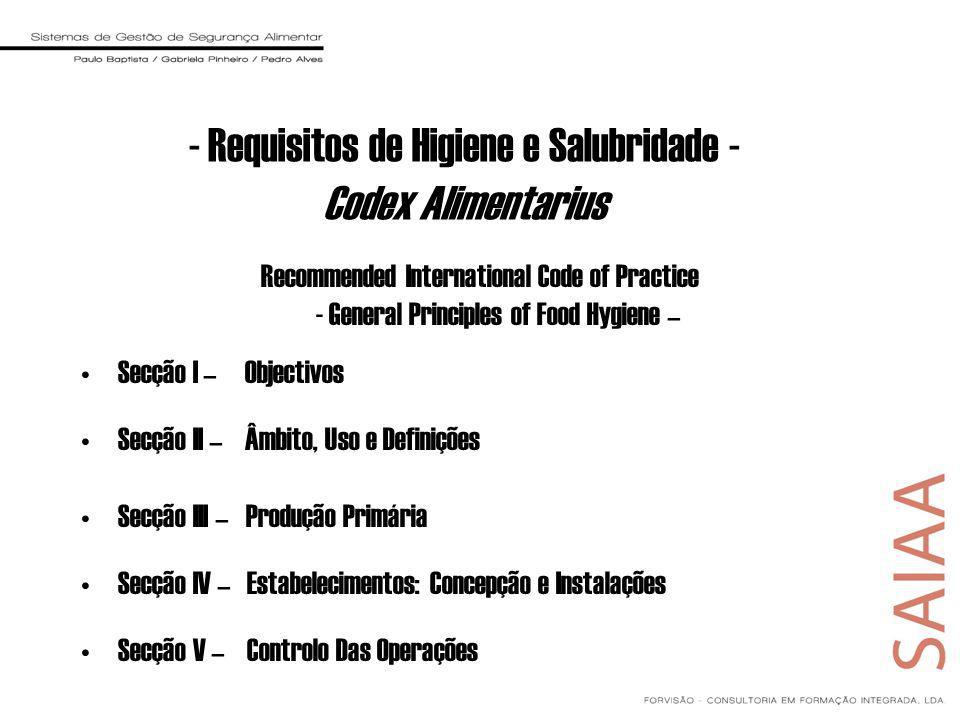 - Requisitos de Higiene e Salubridade - Codex Alimentarius
