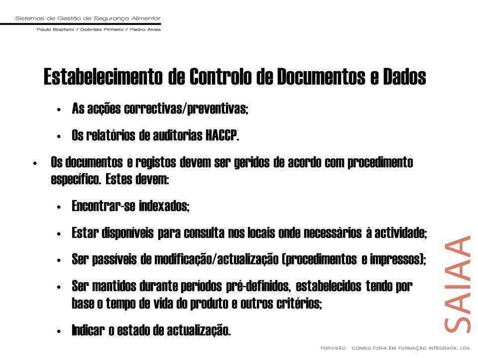 Estabelecimento de Controlo de Documentos e Dados