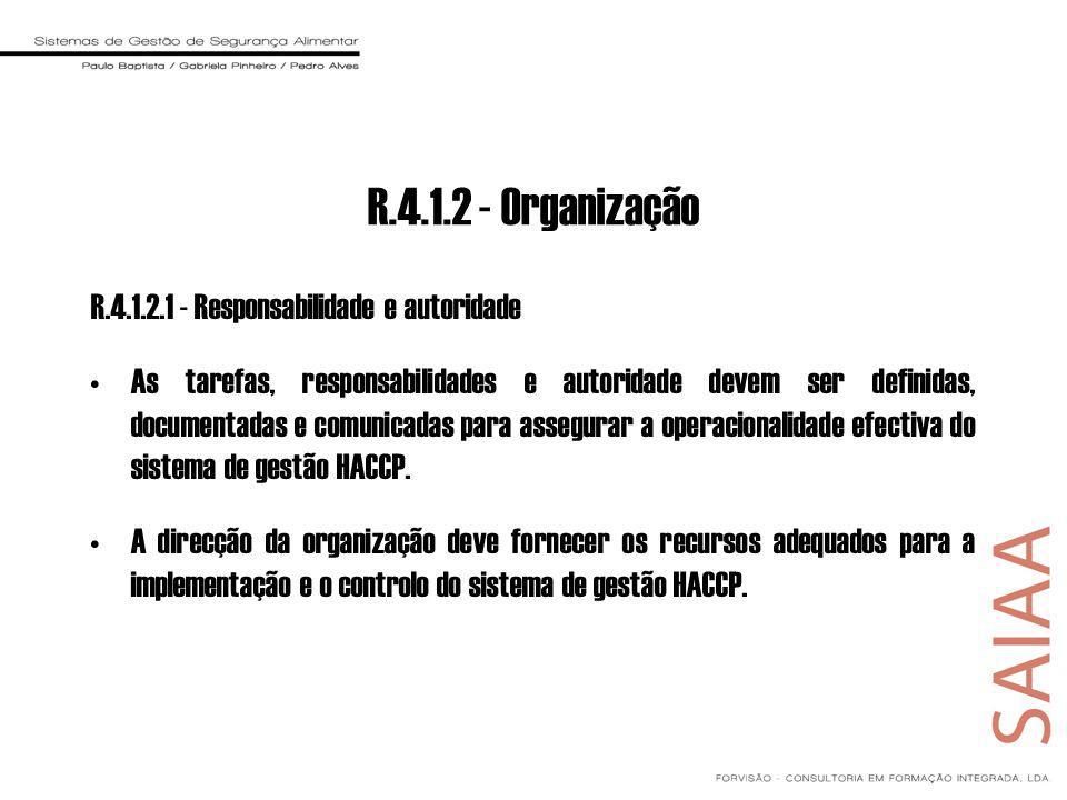 R.4.1.2 - Organização R.4.1.2.1 - Responsabilidade e autoridade