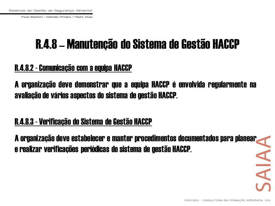 R.4.8 – Manutenção do Sistema de Gestão HACCP