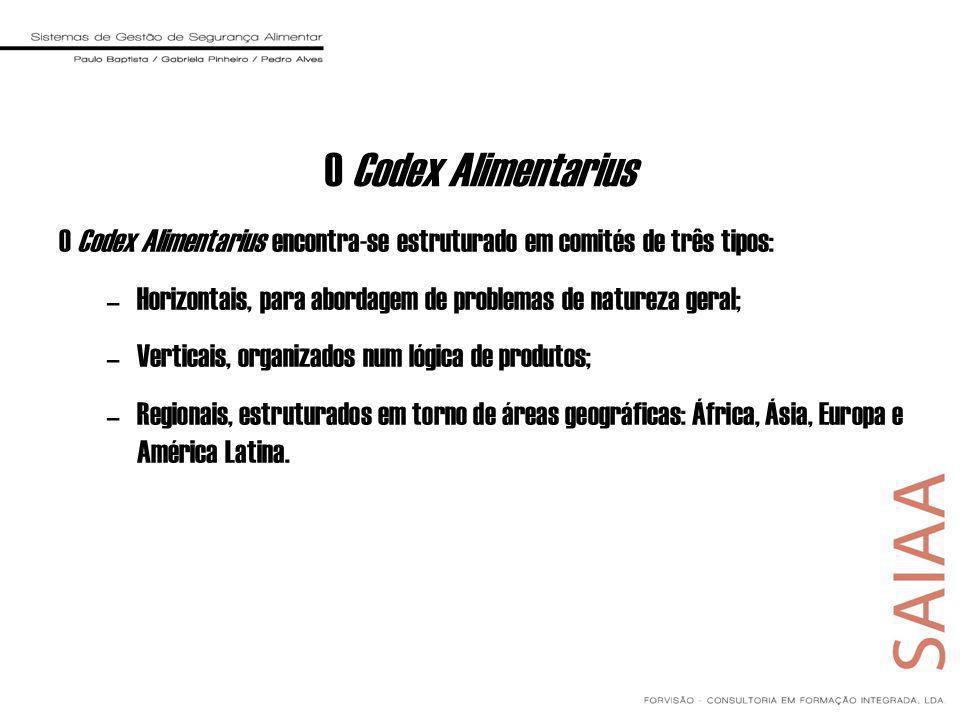 O Codex Alimentarius O Codex Alimentarius encontra-se estruturado em comités de três tipos: