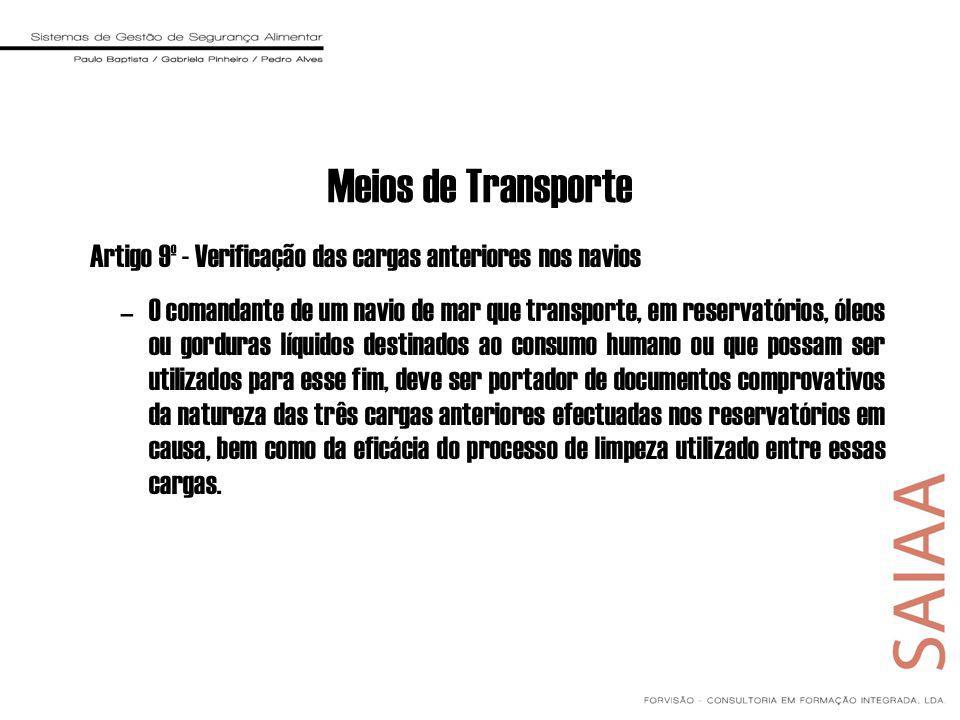 Meios de Transporte Artigo 9º - Verificação das cargas anteriores nos navios.