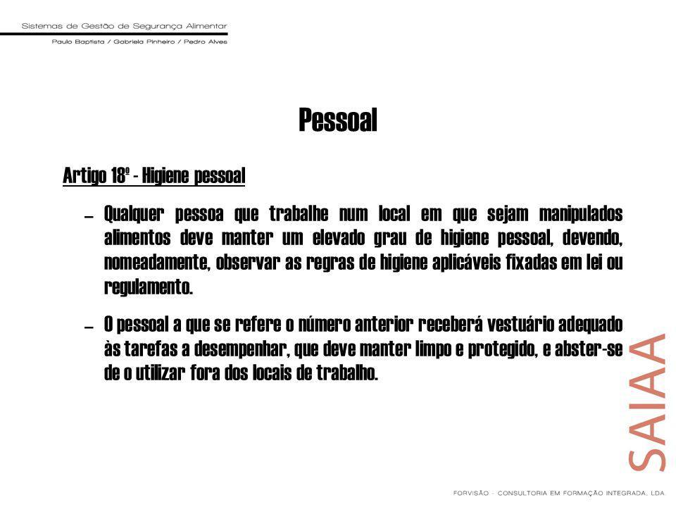 Pessoal Artigo 18º - Higiene pessoal