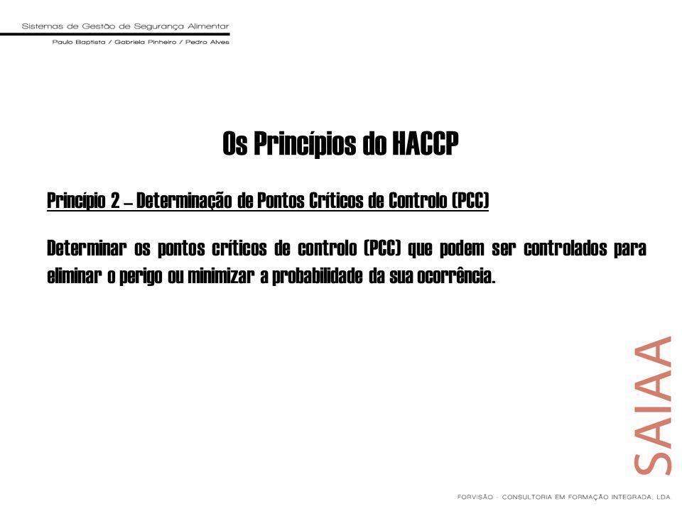 Os Princípios do HACCP Princípio 2 – Determinação de Pontos Críticos de Controlo (PCC)