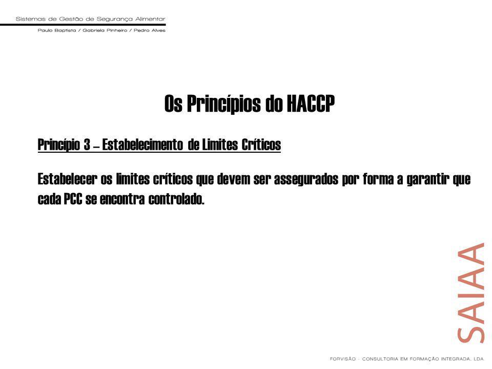 Os Princípios do HACCP Princípio 3 – Estabelecimento de Limites Críticos.