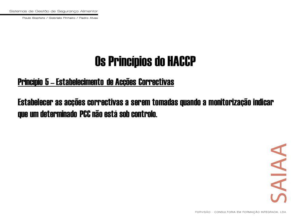 Os Princípios do HACCP Princípio 5 – Estabelecimento de Acções Correctivas.