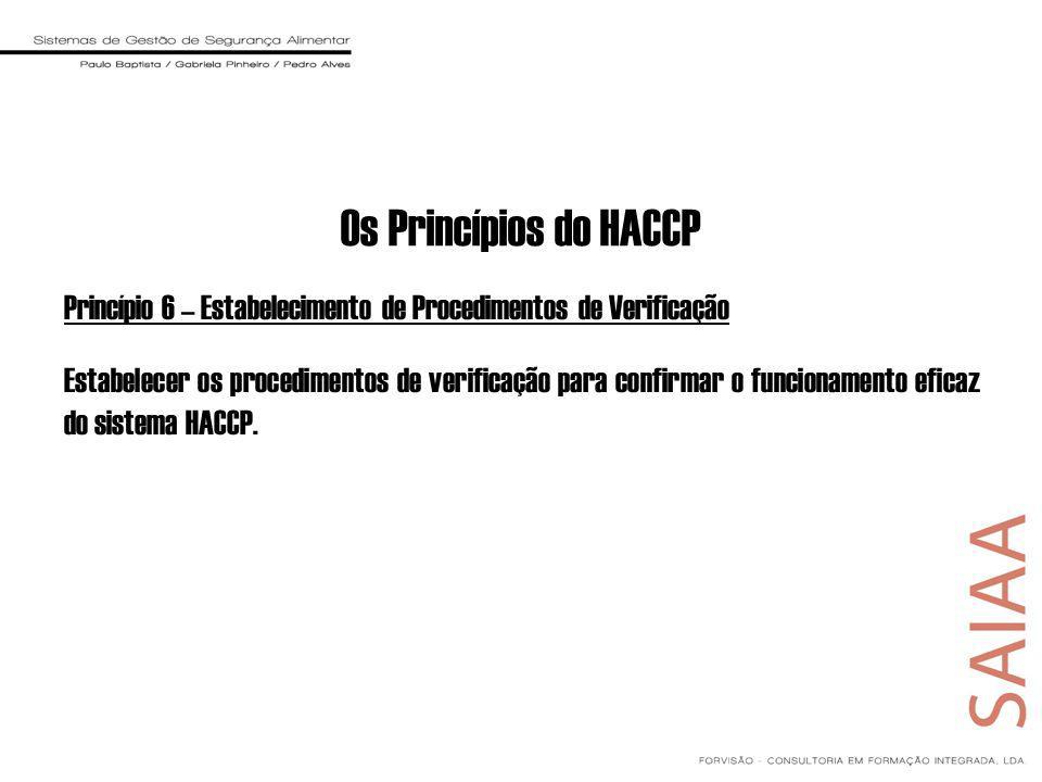 Os Princípios do HACCP Princípio 6 – Estabelecimento de Procedimentos de Verificação.