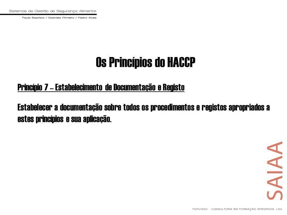 Os Princípios do HACCP Princípio 7 – Estabelecimento de Documentação e Registo.
