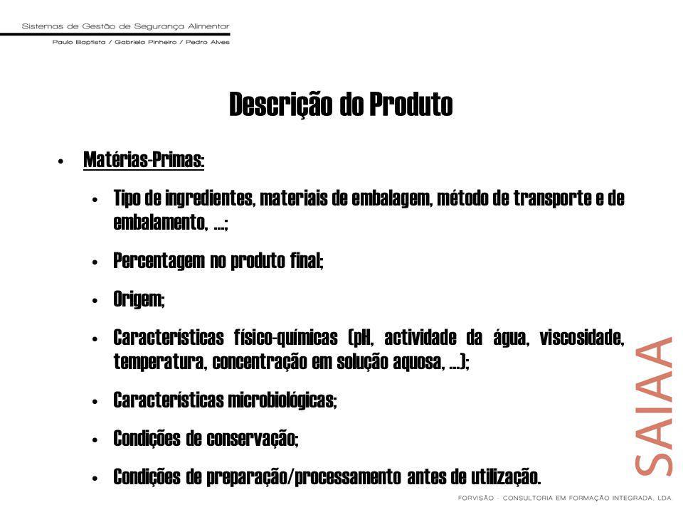 Descrição do Produto Matérias-Primas: