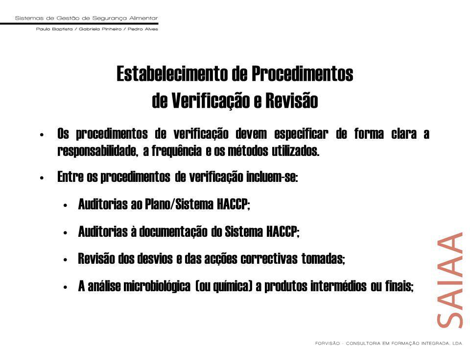 Estabelecimento de Procedimentos de Verificação e Revisão