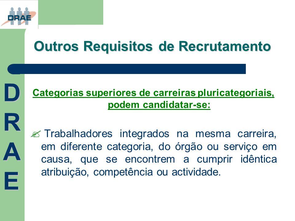 Outros Requisitos de Recrutamento