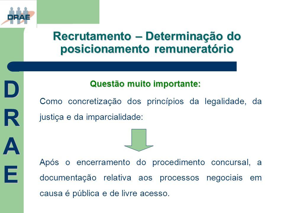 Recrutamento – Determinação do posicionamento remuneratório