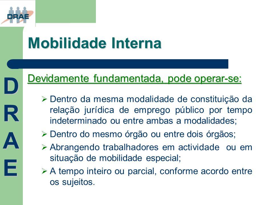 DRAE Mobilidade Interna Devidamente fundamentada, pode operar-se:
