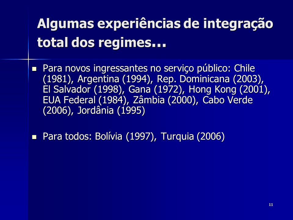 Algumas experiências de integração total dos regimes...