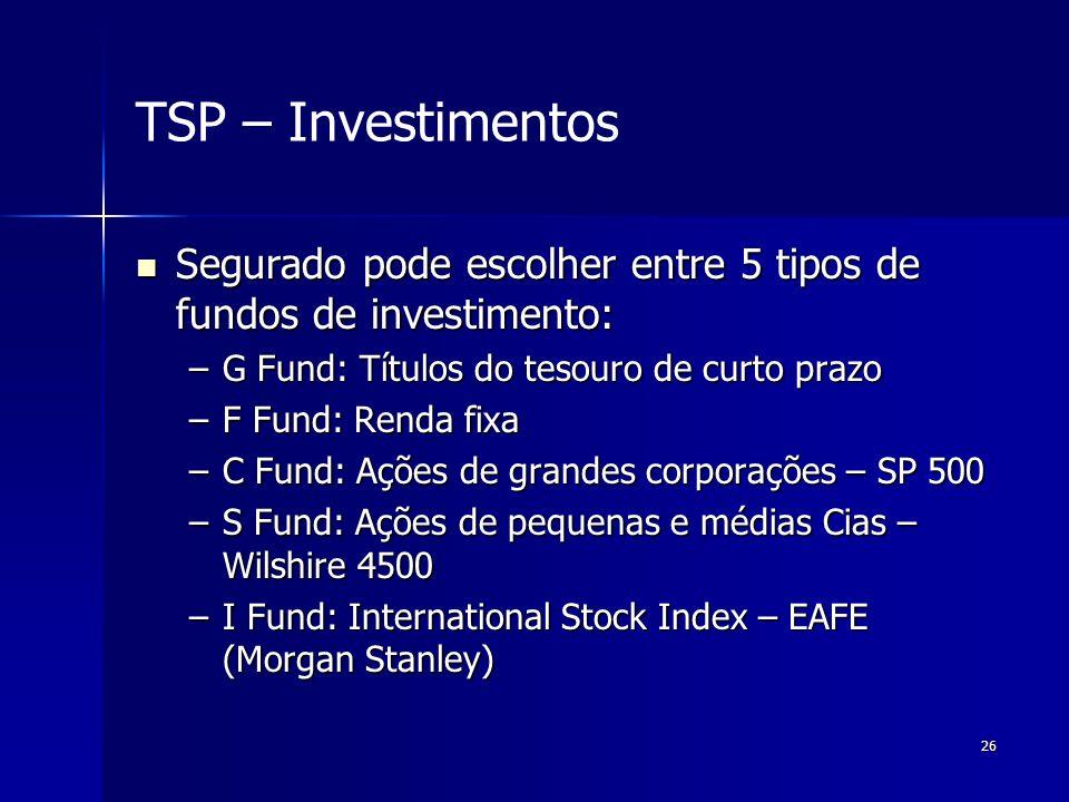 TSP – Investimentos Segurado pode escolher entre 5 tipos de fundos de investimento: G Fund: Títulos do tesouro de curto prazo.