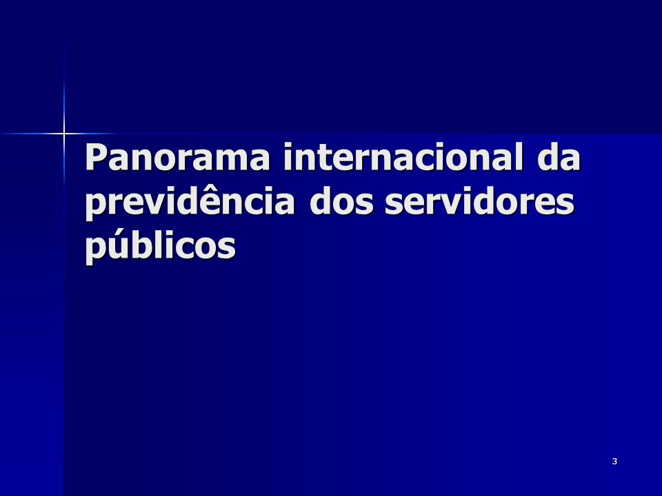 Panorama internacional da previdência dos servidores públicos