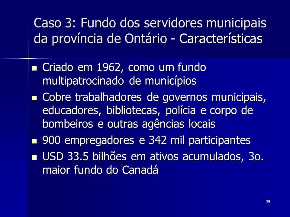 Caso 3: Fundo dos servidores municipais da província de Ontário - Características