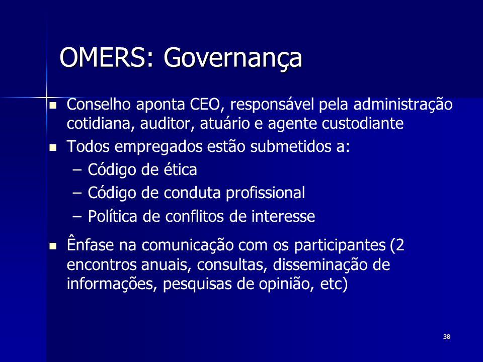 OMERS: Governança Conselho aponta CEO, responsável pela administração cotidiana, auditor, atuário e agente custodiante.