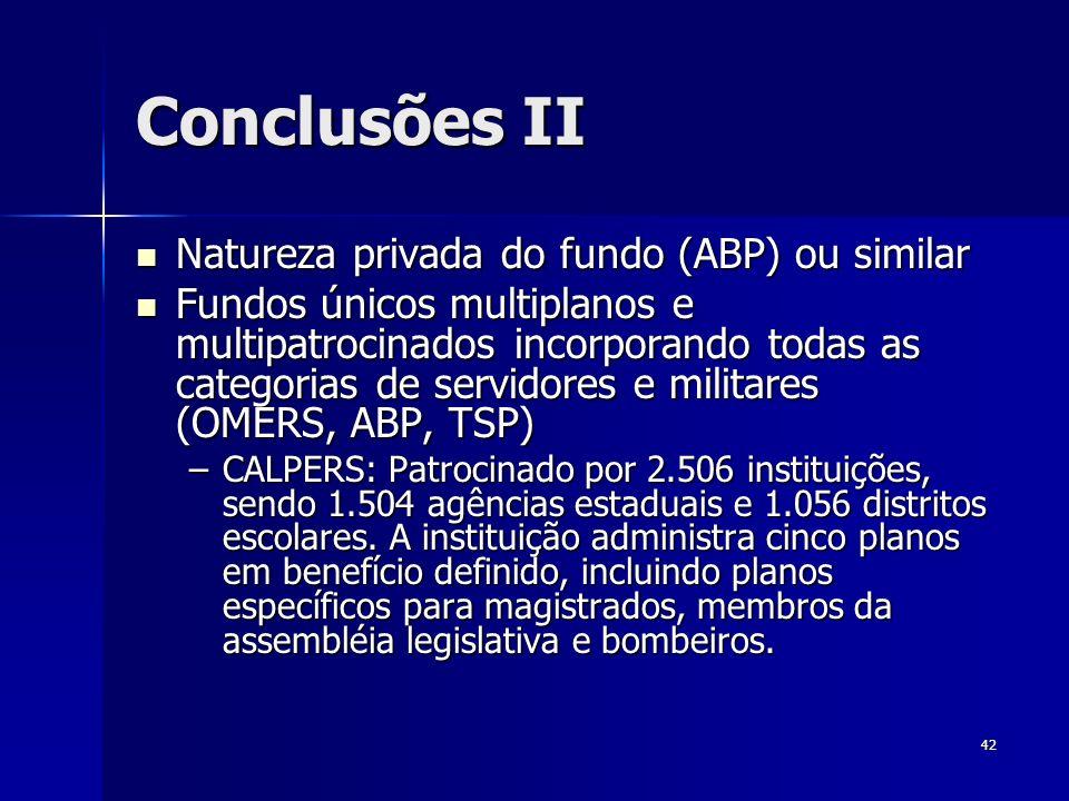 Conclusões II Natureza privada do fundo (ABP) ou similar