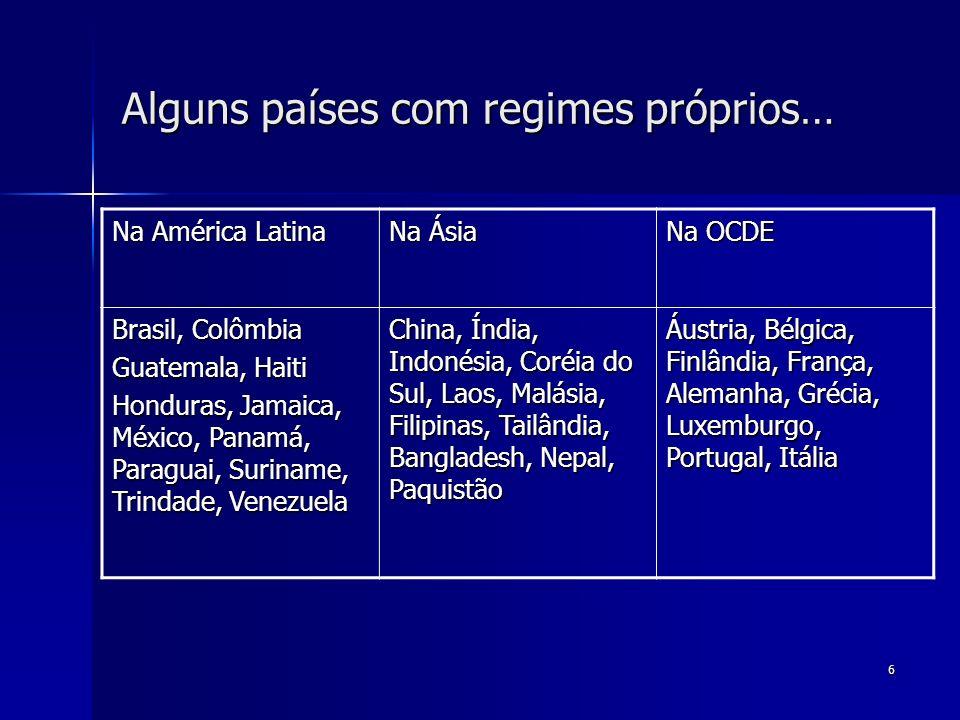 Alguns países com regimes próprios…
