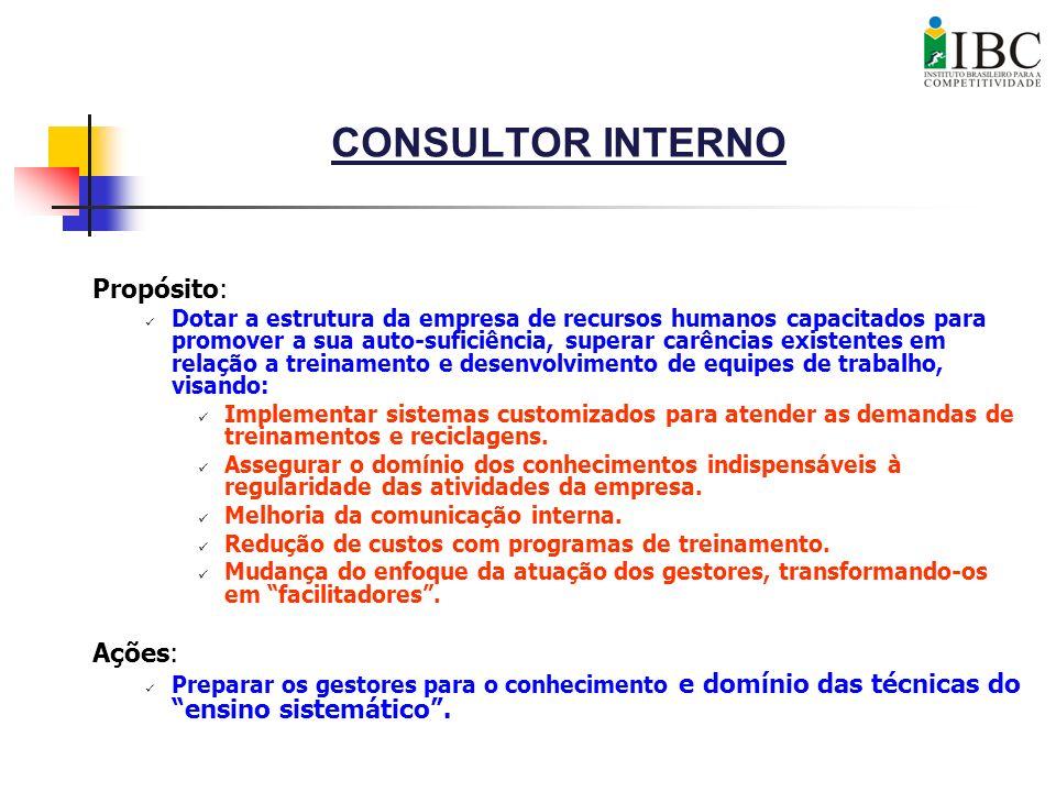 CONSULTOR INTERNO Propósito: Ações: