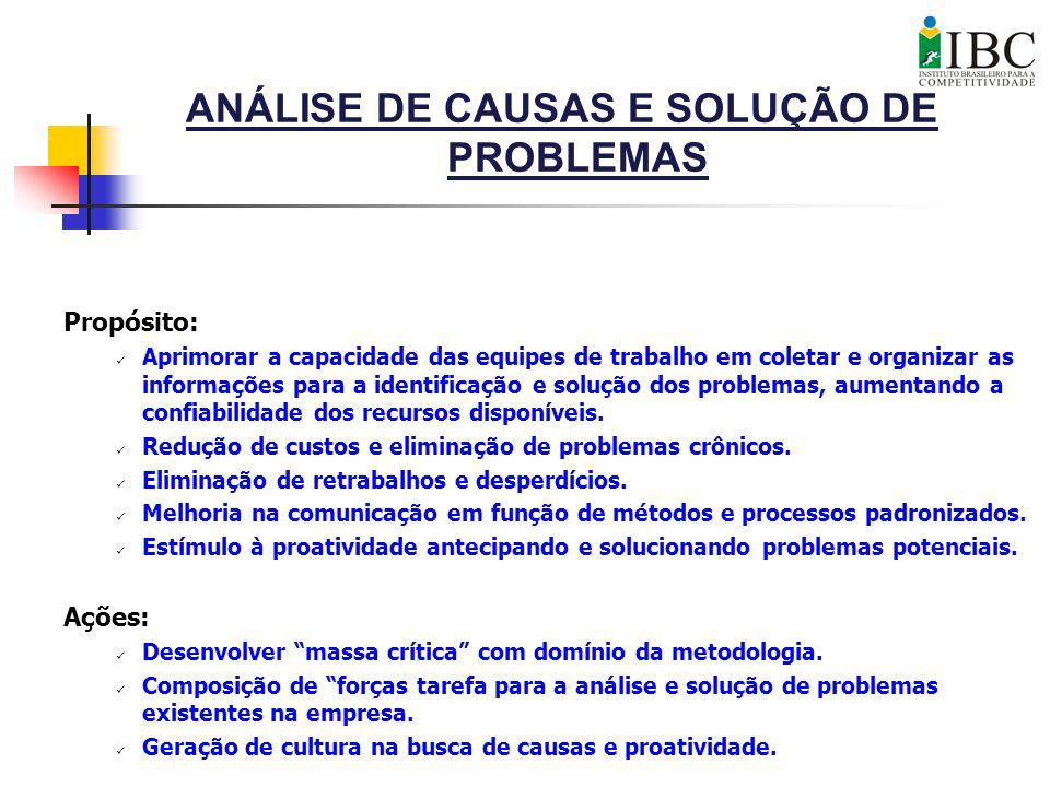 ANÁLISE DE CAUSAS E SOLUÇÃO DE PROBLEMAS