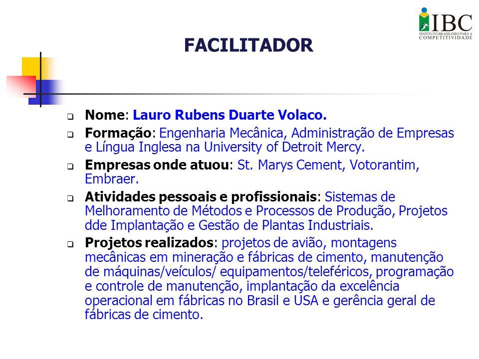 FACILITADOR Nome: Lauro Rubens Duarte Volaco.