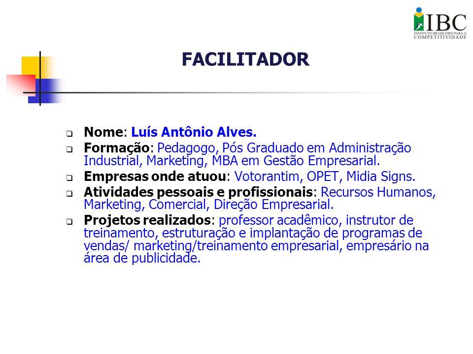 FACILITADOR Nome: Luís Antônio Alves.