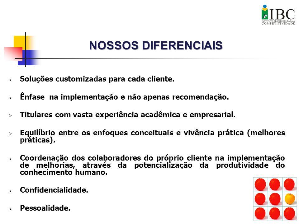 NOSSOS DIFERENCIAIS Soluções customizadas para cada cliente.