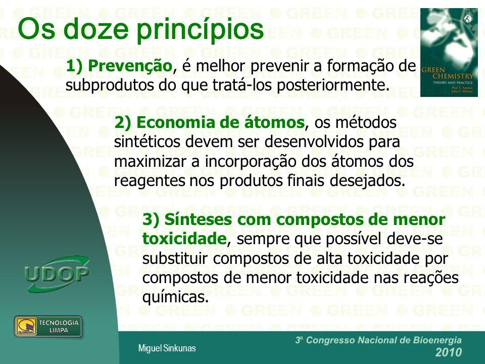 Os doze princípios 1) Prevenção, é melhor prevenir a formação de subprodutos do que tratá-los posteriormente.