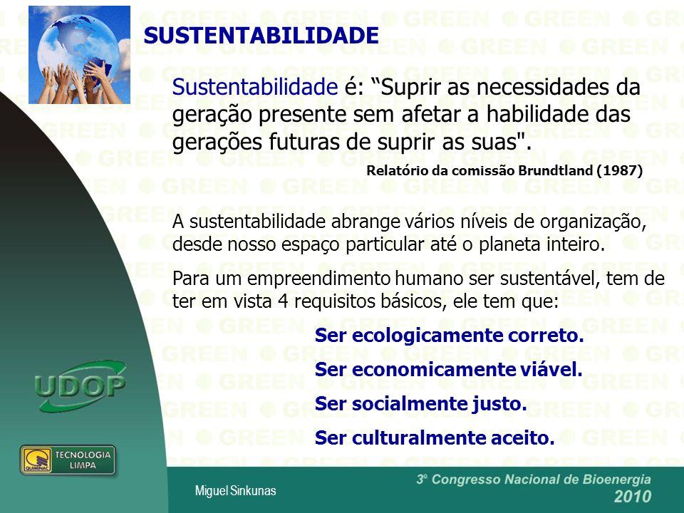 SUSTENTABILIDADE Sustentabilidade é: Suprir as necessidades da geração presente sem afetar a habilidade das gerações futuras de suprir as suas .
