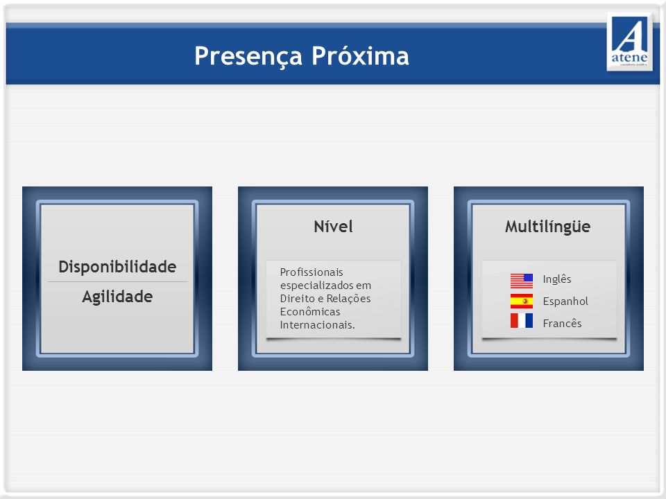 Presença Próxima Nível Nível Multilíngüe Disponibilidade Agilidade
