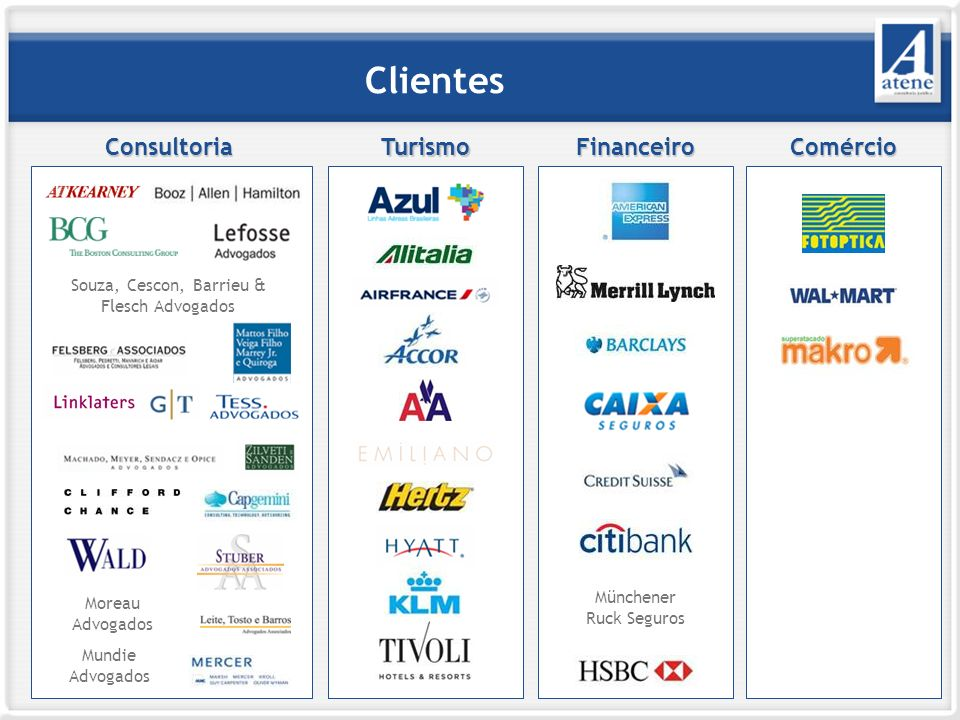 Clientes Consultoria Turismo Financeiro Comércio