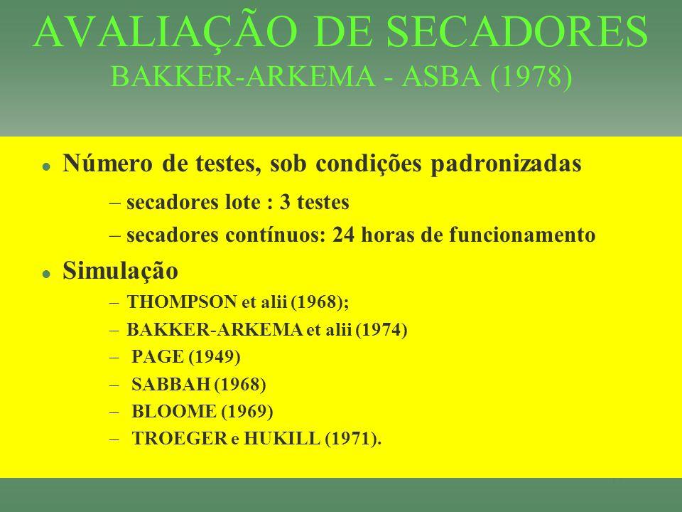 AVALIAÇÃO DE SECADORES BAKKER-ARKEMA - ASBA (1978)