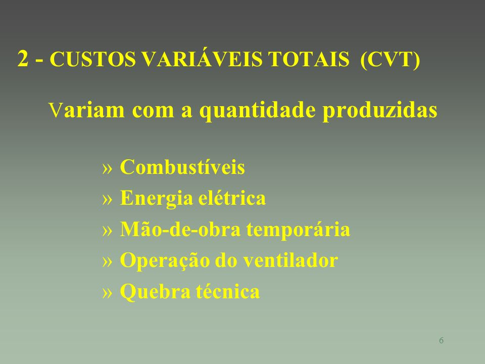 2 - CUSTOS VARIÁVEIS TOTAIS (CVT)