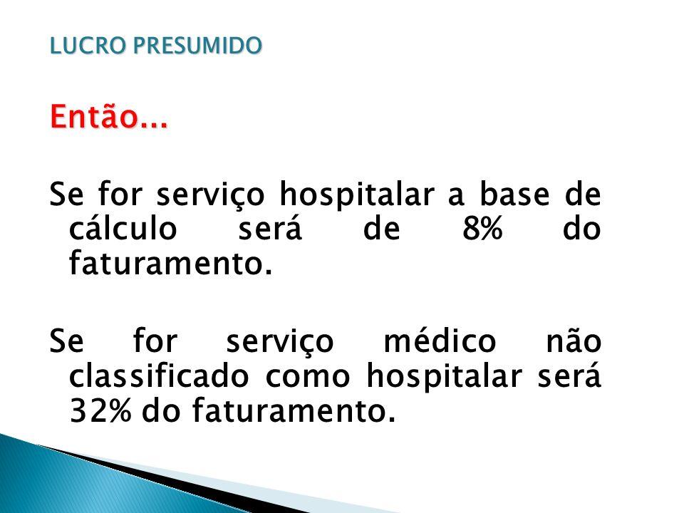 Se for serviço hospitalar a base de cálculo será de 8% do faturamento.