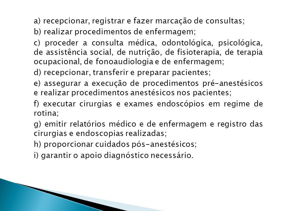 a) recepcionar, registrar e fazer marcação de consultas;