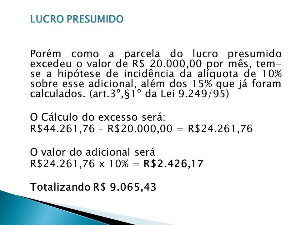 O Cálculo do excesso será: R$44.261,76 – R$20.000,00 = R$24.261,76