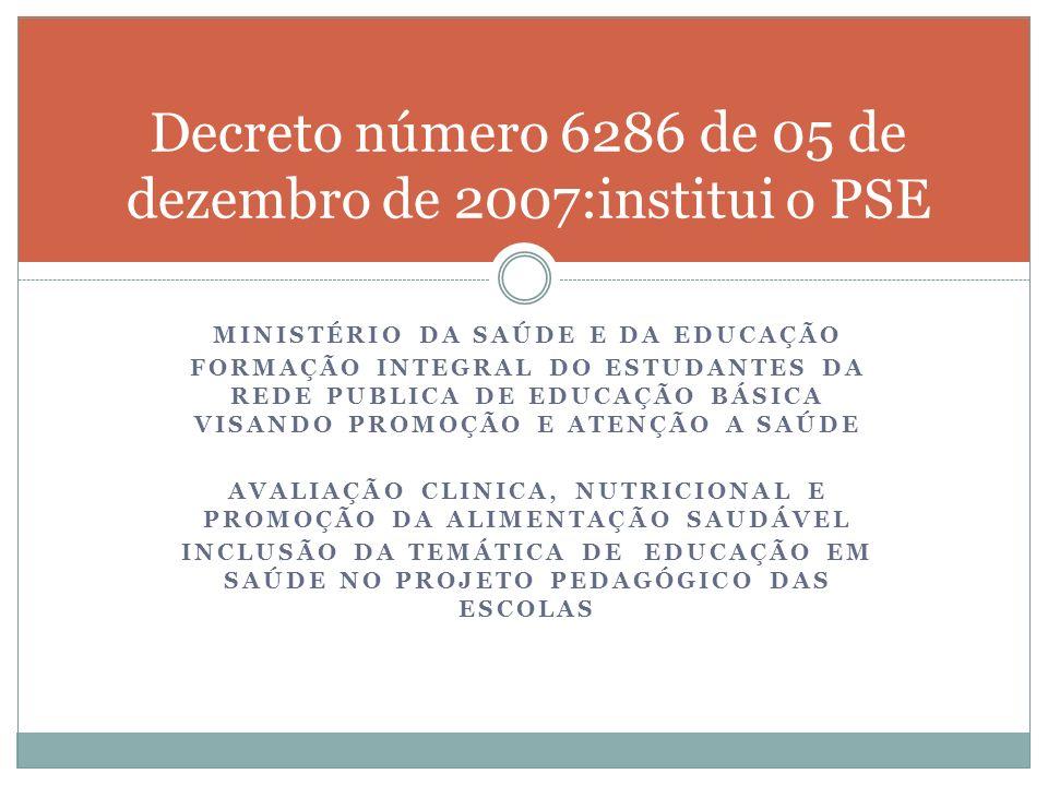 Decreto número 6286 de 05 de dezembro de 2007:institui o PSE