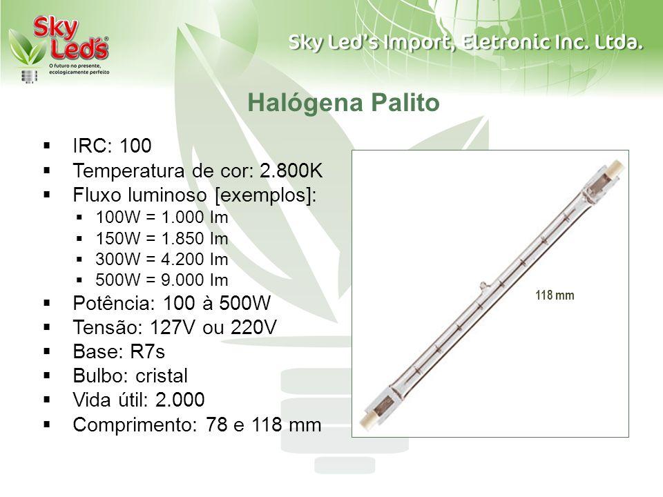 Halógena Palito IRC: 100 Temperatura de cor: 2.800K