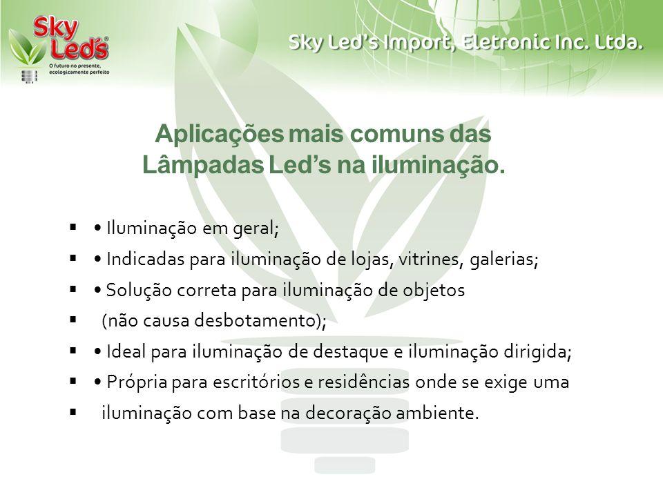 Aplicações mais comuns das Lâmpadas Led's na iluminação.