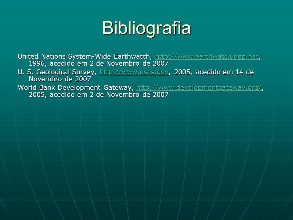 Bibliografia United Nations System-Wide Earthwatch, http://www.earthwatc.unep.net, 1996, acedido em 2 de Novembro de 2007.