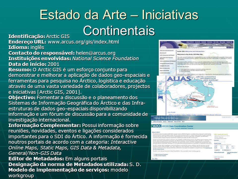 Estado da Arte – Iniciativas Continentais